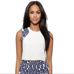 Elizabeth and James Blue Cameo Silk Cropped Top